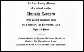 Funeral card for Augusta Rogers who passed away on the 1st November 1962 aged 78 years.