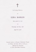 Funeral Service Sheet of Ezra Barker who passed away on 3rd July 1997