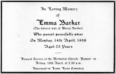Funeral card for Emma Barker who passed away on the 14th April 1958 aged 73 years.