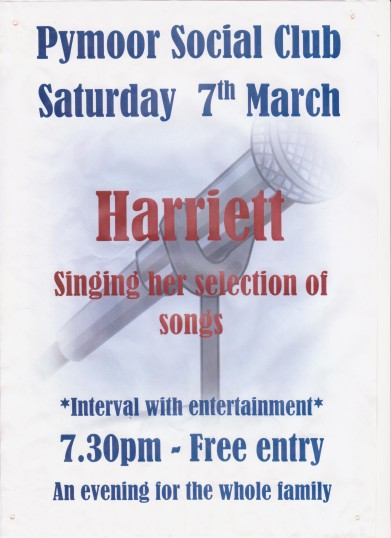 Harriett entertained members and friends at the Pymoor Cricket and Social Club singing a selection of her songs. 2015