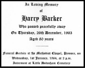 Funeral card for Harry Barker who passed away on the 26th December 1963 aged 80 years.