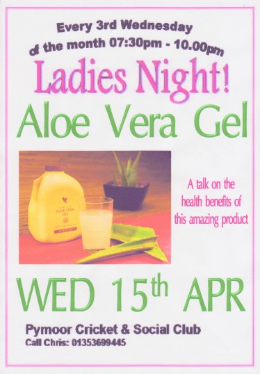 The Ladies of Pymoor and their friends enjoyed a talk on the amazing health benefits of Aloe Vera Gel at the Pymoor Cricket and Social Club, April 2015