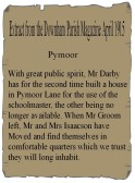 Article in the Downham Parish Magazine about Mr Darby building a house in Pymoor Lane for use of the schoolmaster. April 1915