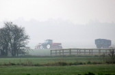It is 6am on a misty Spring morning and the farmers are already hard at work in the fields off Pymoor Lane, Pymoor, 2015
