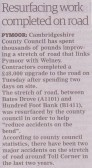 Article in the Ely Standard about the resufacing of the road between Pymoor and Welney, 2015