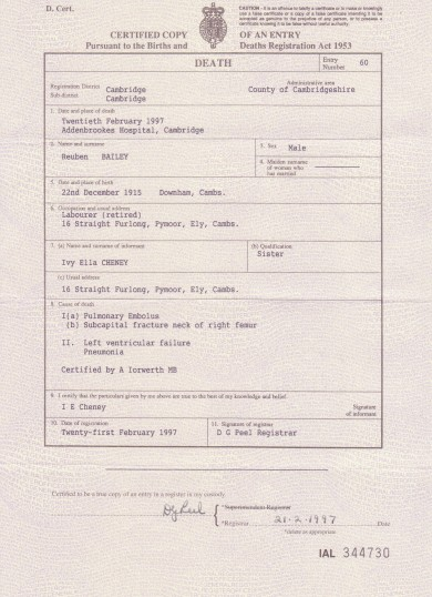 Death Certificate of Reuben Bailey who passed away today aged 81 years. 1997