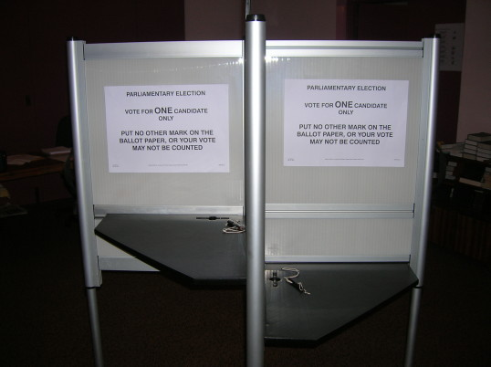 General Election Voting Booth in Pymoor Methodist Chapel, 2010