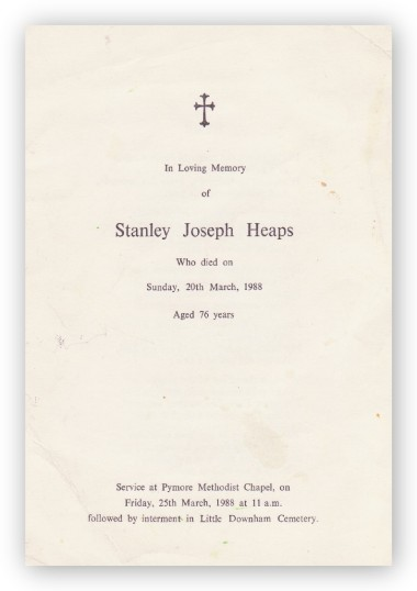 Funeral Service Sheet of Stanley Joseph Heaps, who passed away on 20th March 1988 aged 76 years.