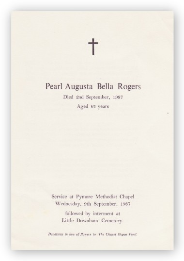 Funeral Service Sheet of Pearl Augusta Bella Rogers, who passed away on 2nd September 1987 aged 61 years.