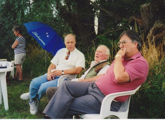 John Palmer, Les Barker and Roger Parson at Oxlode Fishing Lakes, 1995