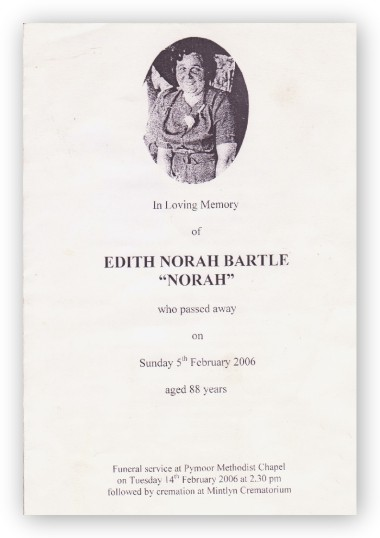 Funeral Service Sheet of Edith Norah Bartle