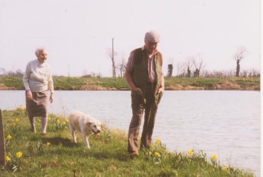 Joan Saberton and Les Barker at the Oxlode Fishing Lakes, Oxlode, 1995