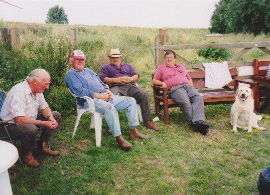 Les Barker, Ivan Martin, Basil Taylor and Roger Parson at Oxlode Fishing Lakes, 1995