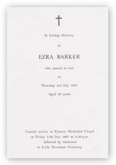 Funeral Service Sheet of Ezra Barker, who passed away on 3rd July 1997 aged 86 years.