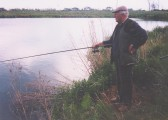 Les Barker fishing at Oxlode Lakes, 1995