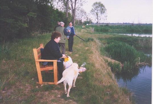 Alocha Barker, Les Barker and Roger Parson at Oxlode Fishing Lakes, 1995