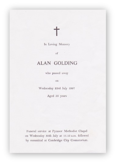Funeral Service Sheet of Alan Golding who passed away on 23rd July 1997 aged 55 years.