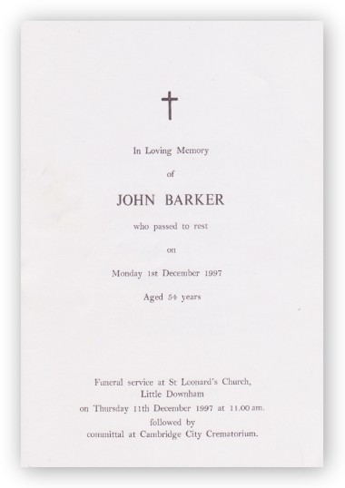 Funeral Service Sheet of John Barker who passed away on 1st December 1997, aged 54 years.
