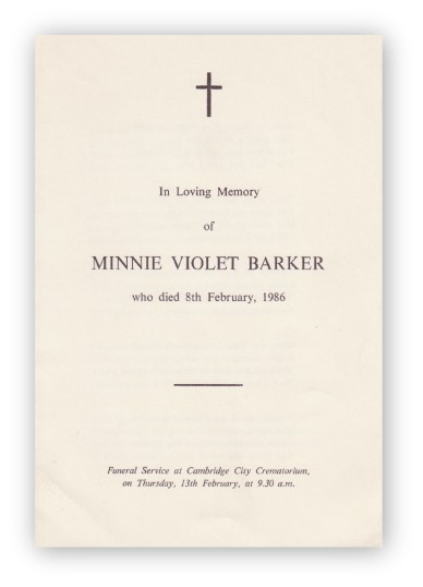 Funeral Service Sheet of Minnie Violet Barker, who passed away on 8th February, 1986.