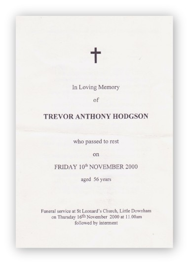 Funeral Service Sheet of Trevor Anthony Hodgson, who passed away on 10th November 2000 aged 56 years.