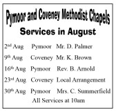 Pymoor and Coveney Methodist Chapels, Services in August 2015