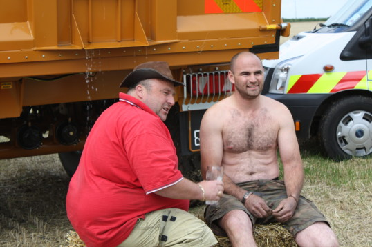 Dale Parson and Chris Piggott take on an extreme version of the Ice Bucket Challenge at Laurel Farm, 2014