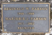 Memorial Plaque for Reginald W. and Marjorie J Parson in the Little Downham Cemetery, 2002