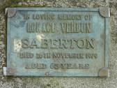 Memorial Plaque for Horace Verdun Saberton in Little Downham Cemetery, 1979
