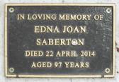 Memorial Plaque for Edna Joan Saberton in Little Downham Cemetery, 2014