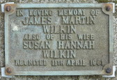 Memorial Plaque for James Martin Wilkin and Susan Hannah Wilkin in Little Downham Cemetery, 1981