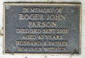 Memorial Plaque for Roger John Parson in Little Downham Cemetery, 2008