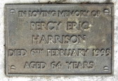 Memorial Plaque for Percy Eric Harrison in Little Downham Cemetery, 1995