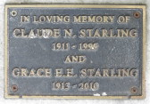 Memorial Plaque for Claude N. Starling and Grace E. E. Starling in Little Downham Cemetery, 2010