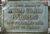 Memorial Plaque for Reginald William Parson in Little Downham Cemetery, 1969