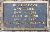 Memorial Plaque for Ann Golding and Alan Golding in Little Downham Cemetery, 1997