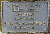 Memorial Plaque for Claude Albert Golding and Hettie Irene Golding in Little Downham Cemetery, 2001