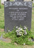 Grave in Little Downham Cemetery of Algie Rogers of Pymoor, who passed away on the 3rd March 1986, aged 73 years.