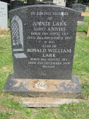 Grave in Little Downham Cemetery of Annie Lark and Ronald William Lark of Pymoor, 2001