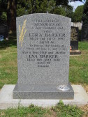 Grave in Little Downham Cemetery of Ezra and Ena Barker of Pymoor, 2010