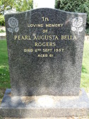 Grave in Little Downham Cemetery of Pearl Augusta Bella Rogers of Pymoor, who passed away on the 2nd September 1987 aged 61 years.