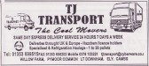 Advertisement in the Parish Magazine for TJ Transport of Pymoor Common, 1999