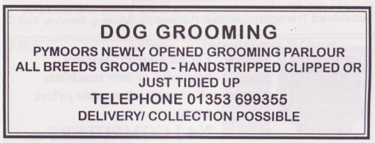 Advertisement in the Parish Magazine for Dog Grooming of Pymoor, 1999
