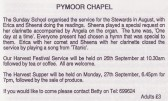 Report in the Parish Magazine about a Service organised by the Pymoor Methodist Chapel Sunday School, 1999