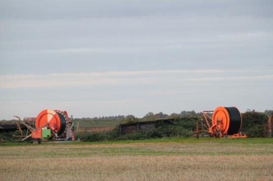 Irrigation reels on Oxlode Farm, Pymoor, seen from School Lane, 2015