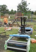 Preparing the hole for the new See-Saw in the Children's Play Area at the Pymoor Cricket Club, 2015