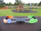 The new See-Saw in the Children's Play Area at the Pymoor Cricket Club, 2015