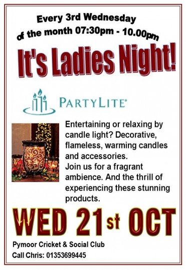 The ladies of Pymoor and their friends enjoyed a Partylite Presentation at the Pymoor Cricket and Social Club. October 2015