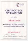 Certificate of Appreciation awarded to Oxlode Lakes for fundraising for Cancer Research UK through their annual Roger Parson Memorial Fishing Match.