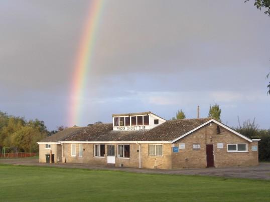 A Rainbow behind the Pymoor Cricket Club, Pymoor Lane, Pymoor. 2015