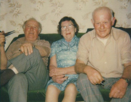 Les, Evelyn and Sid Barker of Pymoor, circa 1980